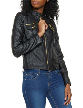 Zip Up Faux Leather Jacket by Rainbow