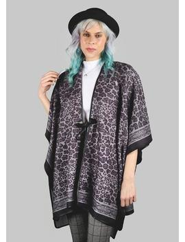 Leopard Print Tassel Tie Poncho by Miss A Scarves