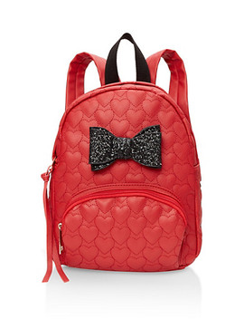 Glitter Bow Faux Leather Backpack by Rainbow