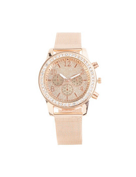 Rhinestone Bezel Metallic Mesh Watch by Rainbow