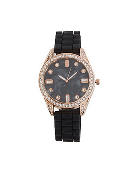 Rhinestone Bezel Silicone Watch by Rainbow