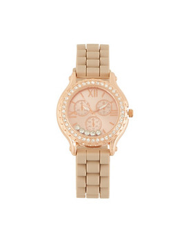 Rhinestone Bezel Watch With Roman Numeral Face by Rainbow