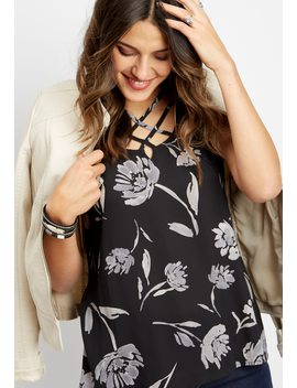 Knit Back Lattice Neck Floral Tank by Maurices