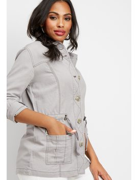 Button Front Anorak Jacket by Maurices