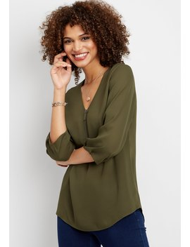 Solid Zip Front Tunic Blouse by Maurices
