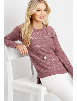 Binder Slub Cutout Yoke Sweater by Maurices
