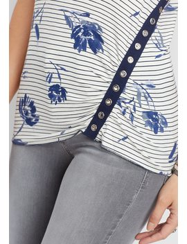 Floral Stripe Grommet Tank by Maurices