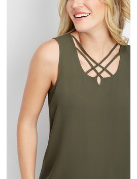 Solid Lattice Neck Popover Tank by Maurices