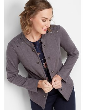 Lattice Shoulder Military Cardigan by Maurices