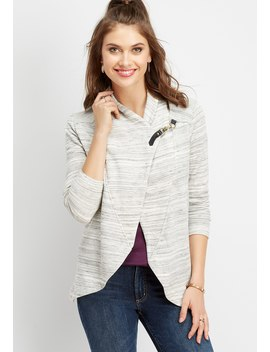 Asymmetrical Spacedye Hook Closure Cardigan by Maurices