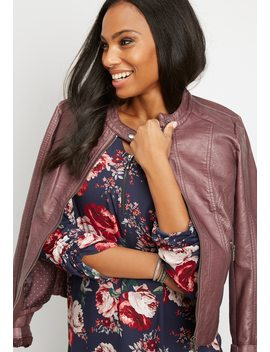 Zip Front Floral Blouse by Maurices