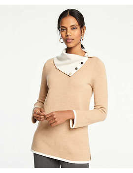 Button Collar Tunic Sweater by Ann Taylor