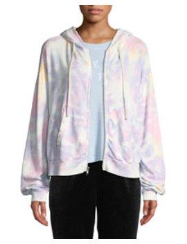 marquis-tie-dye-zip-front-hoodie by wildfox