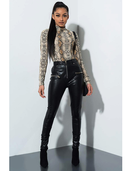 Get Right Faux Leather Zipper Pant by Akira