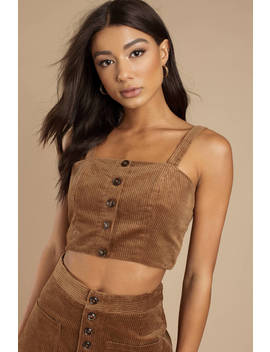 Lost + Wander Alicia Mocha Corduroy Crop Top by Tobi
