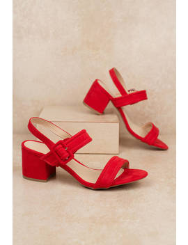 Larina Red Ankle Strap Heels by Tobi