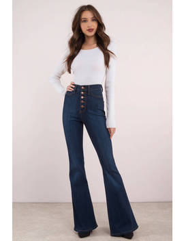 Penny Lane Dark Wash High Waisted Denim Bell Bottoms by Tobi