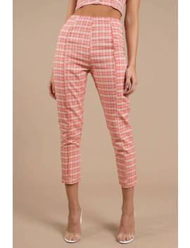 Teenage Dream Red Plaid Pants by Tobi
