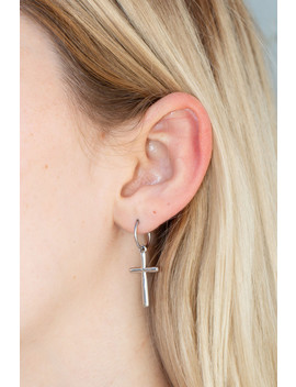 Silver Cross Earrings by Brandy Melville