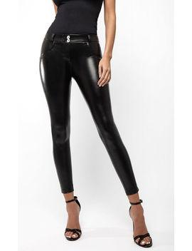 Mid Waist Black Pu Leather Look Pants by Hugz Jeans