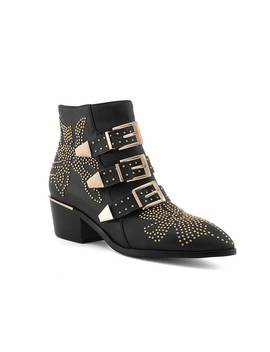 Carmen Gold Studded Leather Ankle Boots by Jessica Buurman
