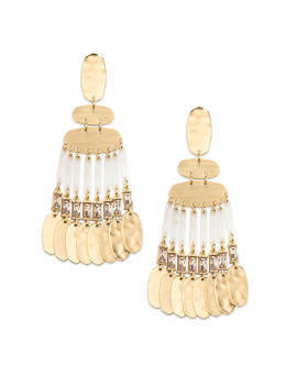 Oster Gold Statement Earrings In Smoky Crystal by Kendra Scott