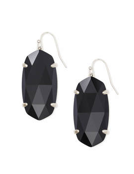 Esme Silver Drop Earrings In Black Opaque Glass by Kendra Scott