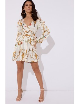 Lucy Cream Chain Print Satin Cold Shoulder Wrap Dress by In The Style