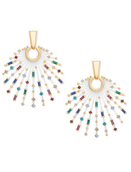 Fabia Gold Statement Earrings In Jewel Tone Mix by Kendra Scott