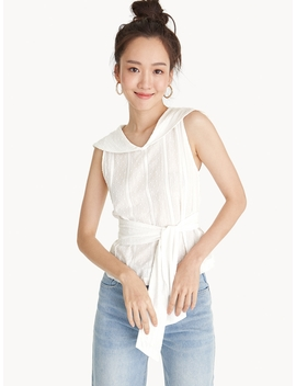 Sailor Neckline Eyelet Tied Waist Top by Pomelo