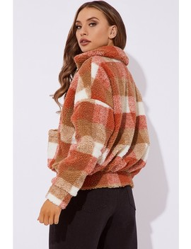 Kaelia Rust Checked Teddy Fur Bomber Jacket by In The Style