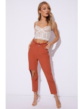 Emily Shak Rust Denim Paperbag Mom Jeans by In The Style