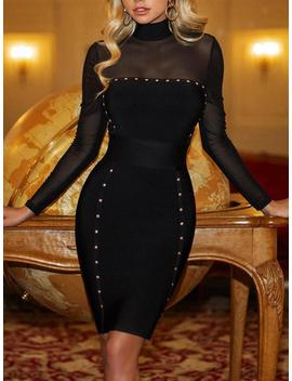 Rivets Embellished Mesh Yoke Bodycon Dress by Ivrose