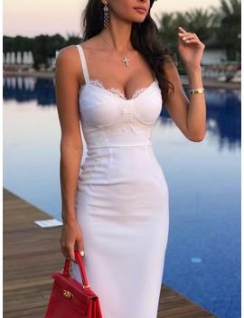 Solid Eyelash Lace Splicing Bodycon Dress by Ivrose