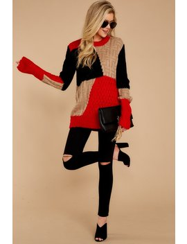 All The Questions Red And Black Sweater by Gilli