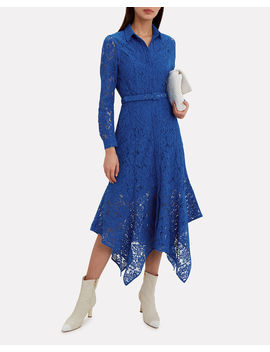 Cotton Lace Lapis Blue Midi Dress by Ganni