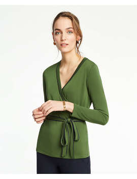 Piped Belted Wrap Top by Ann Taylor