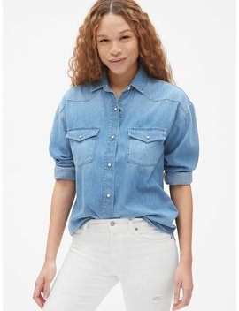 Oversized Denim Western Shirt by Gap