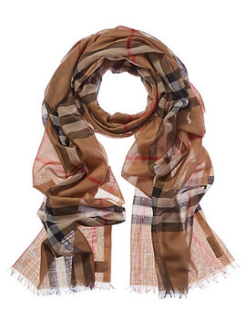 Burberry Lightweight Check Wool & Silk Scarf by Burberry