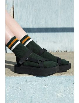 Green Yellow And White Stripe Socks by Brandy Melville