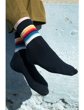 Navy Rainbow Socks by Brandy Melville