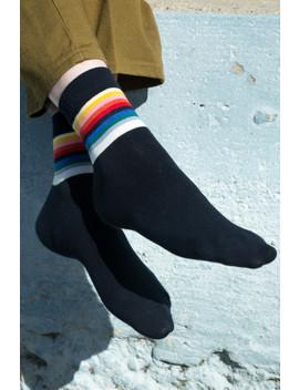Navy Rainbow Socks by Brandy Melville