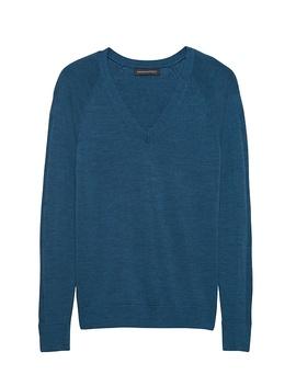 Washable Merino V Neck Sweater by Banana Repbulic
