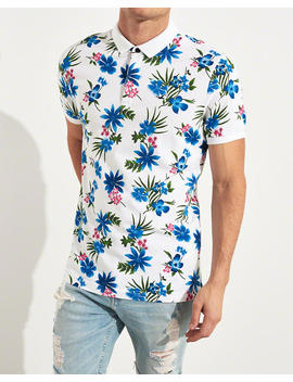 Stretch Patterned Slim Fit Polo by Hollister