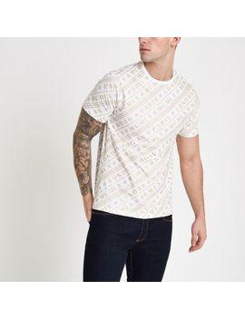 Wit 'mcmlx' Slim Fit T Shirt Met Korte Mouwen by River Island