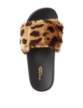 Leopard Faux Fur Slide Sandals by Charlotte Russe