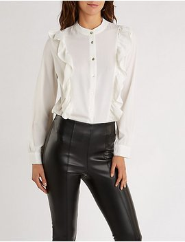 Ruffle Button Up Top by Charlotte Russe