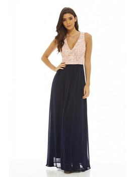 Contrast Lace Top Maxi Dress by Ax Paris