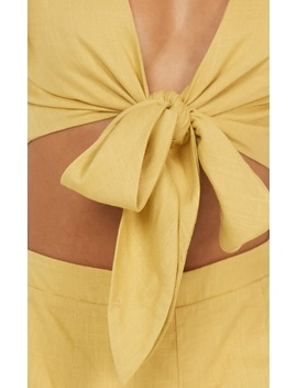 Sunny Days Two Piece Set In Yellow Linen Look by Showpo Fashion