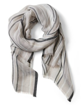 Linen Shine Stripe Rectangular Scarf by Banana Repbulic